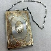 Edwardian Antique Sterling And 14k Gold Necessary Compact Wristlet Miniature Purse