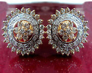 1.46ctw Natural Diamond Yellow Gold Studs Party-wear Earrings B358
