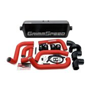 Grimmspeed 090253 Front Mount Intercooler Black Core W/red Piping