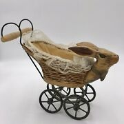 Antique 1950's Rabbit Bunny Head Wicker Baby Doll Carriage Art Piece Objects