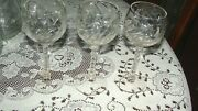 3 Rock Sharpe Claret Wine Arch Design Cut Floral Crystal Classes 6 1/4and039and039 Tall