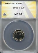 1986-d Roosevelt Dime Ms 67 Anacs Graded Super Gem Uncirculated - Donand039t Miss Out