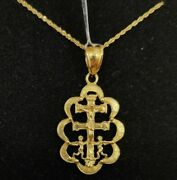 Pendant And Chain Gold 18 K. Cross Of Caravaca, Pull Of Ondas. 1 3/32in