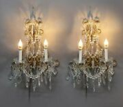 Pair Vintage Italian Style Wall Hanging Crystal Beaded Candelabra Wall Sconces