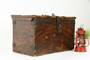 Child Size Country Pine Antique Rustic Farmhouse Chest Or Trunk 38675