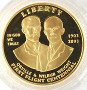 2003 W First Flight Centennial Commemorative Proof Gold 10 Us Coin W/ Box And Coa