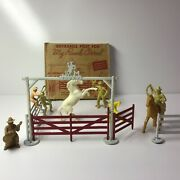 Old Diecast Metal Manoil Western Cowboy Ranch Corral Fence And Gate In Box