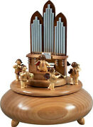 Music Box Orgel With Angel 6 Blower Nature D=8 11/16in New Game Clock Wood