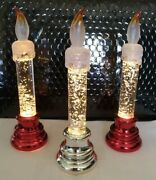 Holiday Flameless Led Water Filled Candlesticks Battery Operated Set Of 3