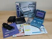 Nintendo Gameboy Advance Sp 101 Pearl Blue Complete In Box W/ Inserts And Charger