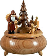 Music Box Santa Claus, 2 Angel With Sled Nature D=7 5/16in New Game Clock