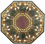 48and039and039 Dining Green Marble Table Top Blue Lapis Stones Inlay Art Handmade