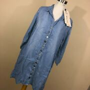 New Neon Buddha S Small Denim Blue Shirt Dress Button Front Lace Up Back Nwt V2