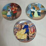 3 Disney Knowles Collector Plates - Beauty And The Beast 8, 11, 12