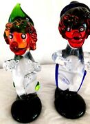 """Pair, Murano 7""""glass Clowns W/ Clear Body, Dark Hat/shoes, Red Nose/lips/hair."""