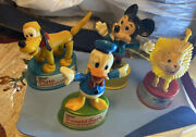 Vintage Kohner Bros Push Button Puppet Toy Set Of 4 Characters -hong Kong