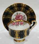 Paragon Johnson Dark Pink Rose Cup And Saucer Black Panels And Gold Filigree 1960s