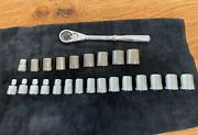 Vintage Craftsman Ratchet 3/8 Drive Usa Made Vn44813 W/ Sae And Metric Sockets