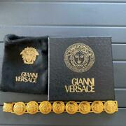 Authentic Gianni Versace Coin Bracelet Medusa Gold Italy W / Storage Bag And Box