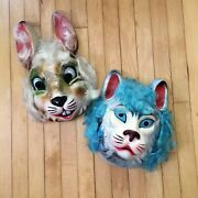 Vintage 1950and039s 60and039s Plastic Halloween Masks 2 Rabbit Cat Large Adult Rare