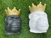 """Gorillas With Gold Crowns 15"""" Tall Planters - Set Of 2"""