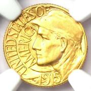1915-s Panama Pacific Gold Dollar G1 Coin - Certified Ngc Ms64 Bu Unc - Rare
