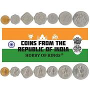 Set 7 Coins India 1 2 5 10 25 50 Paise 1 Rupees 1957 - 1964 Indian Money