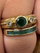 Pair 18k Gold And Emerald Diamond Ring Set Estate Jewelry Size 5.5
