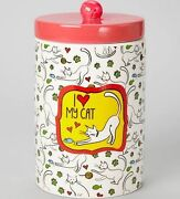 I Love My Cat Treat Jar Red Top Yarn Ceramic New 8 High Paw Prints Heart Mouse