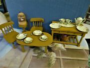 Dollhouse Miniatures Mustard Wood Furniture And Antique Metal Painted Dish Set