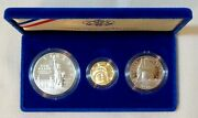 U.s.a. 1986 Statue Of Liberty 3-coin Proof Set Km 212 214 And 215