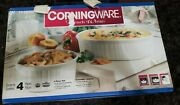 Corningware French White 4 Pieces Round And Oval Casserole. New. 1-1/2 And 2-1/2 Qt.