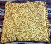 Vintage Bates Bedspreads Yellow Gold Floral Print Fringed Blanket, Double Size