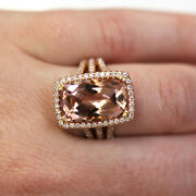 9 Ctw Natural Morganite And Diamond Solid 14k Rose Gold Engagement Cocktail Ring