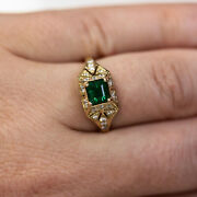 1.15 Ctw Natural Emerald And Diamond Solid 14k Yellow Gold Antique Engagement Ring