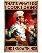 Cook Drink And Know Things Poster Chef Drink Lover Gift Poster Canvas Wall Art