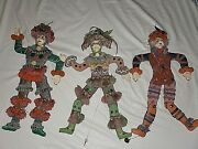Vintage Handmade French Art - Three String Puppets - Marionettes - Unique