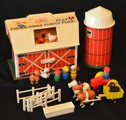 Vintage Fisher Price 915 Farm Complete All Wood Little People Hex Belly Animals