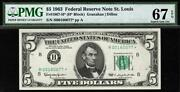 1963 5 St. Louis Star Federal Reserve Note Frn • 1967-h • Pmg 67 Epq