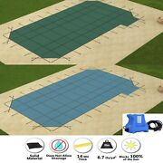 Gli Valuex Solid Swimming Pool Safety Cover W/ 4' X 8' Right Side Step And Pump