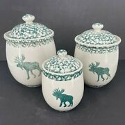 Set Of 3 - Folk Craft Moose Country Tienshan Ceramic Kitchen Canisters