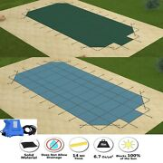 Gli Valuex Solid Rectangle Swimming Pool Safety Cover W/ Center Step And Pump