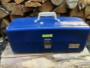 Vintage 50's Union Steel Chest Corp Fishing Tackle Box Blue Model 8619 3 Trays