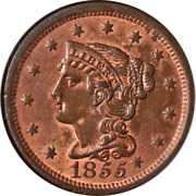 1855 Large Cent Knob On Ear N-9 Ngc Ms64 Rb Great Eye Appeal Nice Strike