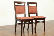 Pair Of Antique Mission Oak Arts And Crafts Craftsman Desk Or Dining Chairs 38860