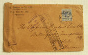 Super Rare Malaya To Hawaii Cover Detained In Hong Kong By Japan During Wwii