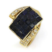 1.3 Ctw Natural Princess Blue Sapphire And Diamond Solid 14k Yellow Gold Band Ring
