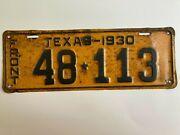 1930 Texas License Plate Front 100 All Original Paint