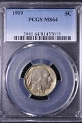 1919 Buffalo Nickel Pcgs Ms64 Nicely Toned Free Shipping Knem