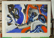 Heiko Herrmann 1953 Oil Painting From 1989 Abstract Composition Knitting